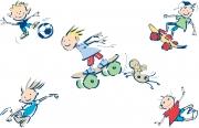 Boys Skateboarding, Soccer Etc.
