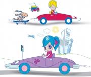 Girl, Boy Driving Cars