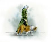 Woman Walking Collie, Nelson Publishing