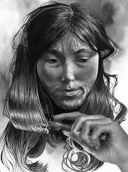Inuit Woman Brushing Hair